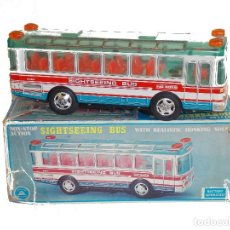 Juguetes antiguos de hojalata: BUS JUGUETE VINTAGE ALPS JAPONES // BUS TOY TIN JAPAN SIGHTSEEING. Lote 220712876