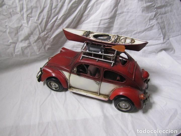 Juguetes antiguos de hojalata: Coche de hojalata Volkswagen escarabajo 31 centímetros de largo - Foto 3 - 104475015
