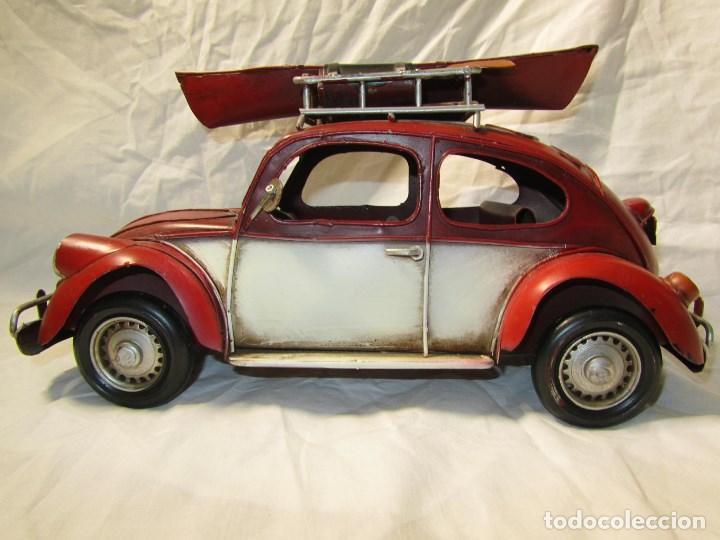 Juguetes antiguos de hojalata: Coche de hojalata Volkswagen escarabajo 31 centímetros de largo - Foto 4 - 104475015