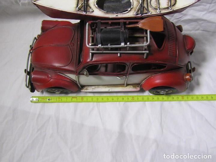 Juguetes antiguos de hojalata: Coche de hojalata Volkswagen escarabajo 31 centímetros de largo - Foto 6 - 104475015