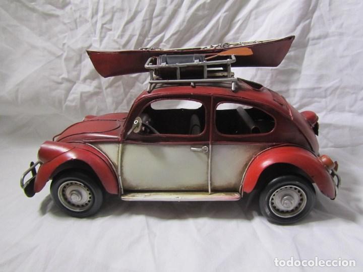 Juguetes antiguos de hojalata: Coche de hojalata Volkswagen escarabajo 31 centímetros de largo - Foto 7 - 104475015