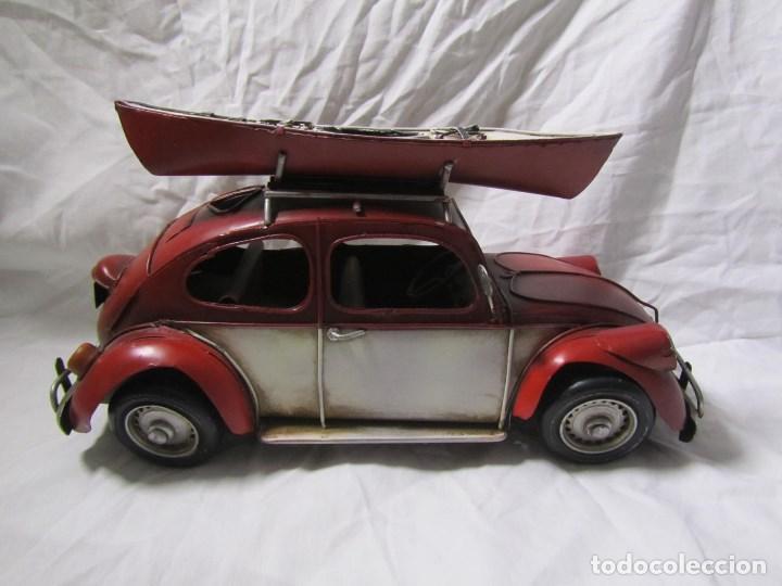 Juguetes antiguos de hojalata: Coche de hojalata Volkswagen escarabajo 31 centímetros de largo - Foto 8 - 104475015