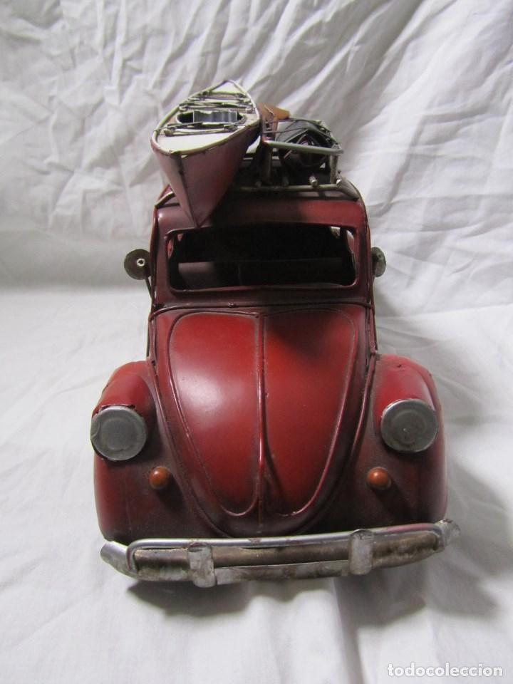 Juguetes antiguos de hojalata: Coche de hojalata Volkswagen escarabajo 31 centímetros de largo - Foto 9 - 104475015