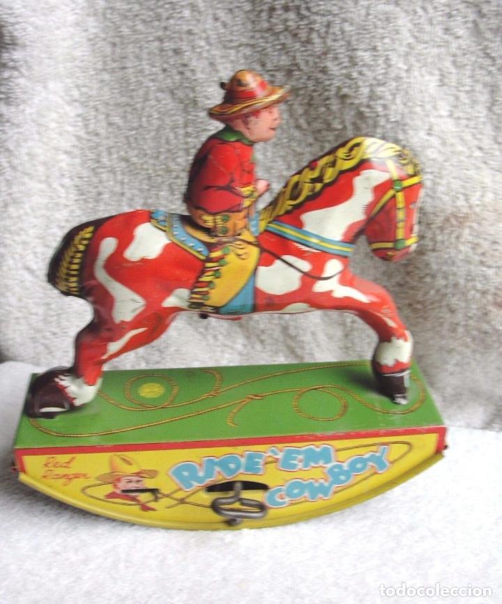 MUSEO PRECIOSO VAQUERO HOJALATA AÑO 1930 RED RANGER WYANDOTT SIMIL PAYA MADE USA FIRMADO PRECIO: 531 (Juguetes - Juguetes Antiguos de Hojalata Internacionales)