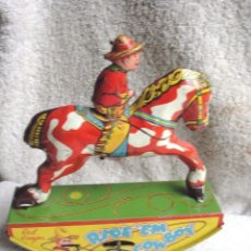 Juguetes antiguos de hojalata: MUSEO PRECIOSO VAQUERO HOJALATA AÑO 1930 RED RANGER WYANDOTT SIMIL PAYA MADE USA FIRMADO PRECIO: 531. Lote 105151379