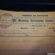 Juguetes antiguos de hojalata: JUGUETES DE HOJA DE LATA. MANUEL GUTIERREZ. SEVILLA 1934. Lote 109311810