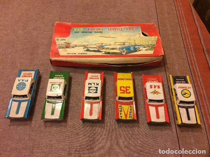 Juguetes antiguos de hojalata: CONJUNTO 6 COCHES HOJALATA AÑOS 50-60 - Foto 3 - 111531527
