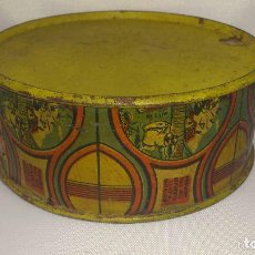 Juguetes antiguos de hojalata: ANTIGUO TAMBOR DE HOJALATA, MEDIDAS 11 X 4,5 CM. Lote 137368328