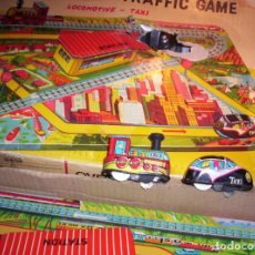 Juguetes antiguos de hojalata: OVERLAND TRAFFIC GAME -LOCOMOTIVE -TAXI. Lote 112729583