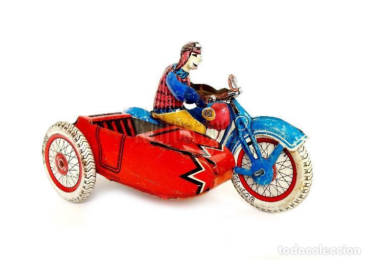 MOTO MOTOCICLETA DE HOJALATA CHAPA CON SIDECAR SFA PARIS FRANCIA AÑOS 50 (Juguetes - Juguetes Antiguos de Hojalata Extranjeros)