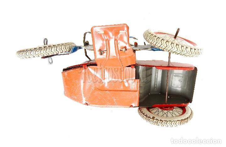 Juguetes antiguos de hojalata: MOTO MOTOCICLETA DE HOJALATA CHAPA CON SIDECAR SFA PARIS FRANCIA AÑOS 50 - Foto 5 - 114393691