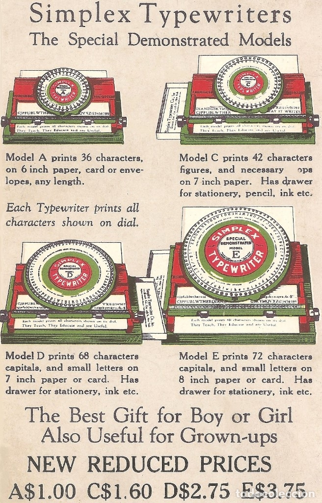 Juguetes antiguos de hojalata: Máquina de escribir hojalata Simplex Typewriter. Auténtica de 1930 con caja original. - Foto 2 - 114596855