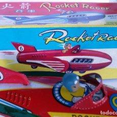 Juguetes antiguos de hojalata: AVIÓN HOJALATA ROCKET RACER AÑOS 70-80. A FRICCIÓN CON RUIDO MOTOR ¡¡NUEVO Y EN SU CAJA ORIGINAL!!. Lote 118657599