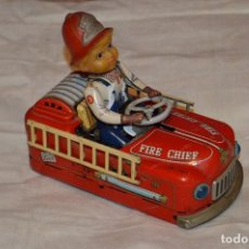Juguetes antiguos de hojalata: ANTIGUO - FIRE CHIEF CAR - MODERN TOYS JAPAN - MT JAPAN - MASUDAYA TIN VINTAGE - BATTERY OPERATED. Lote 118301223