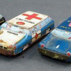 Juguetes antiguos de hojalata: 4 COCHES HOJALATA POLICÍA AMBULANCIA Y PUBLICIDAD MADE IN JAPAN . Lote 118909167