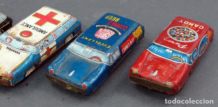 Juguetes antiguos de hojalata: 4 coches hojalata policía ambulancia y publicidad Made in Japan - Foto 3 - 118909167