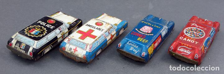 Juguetes antiguos de hojalata: 4 coches hojalata policía ambulancia y publicidad Made in Japan - Foto 4 - 118909167