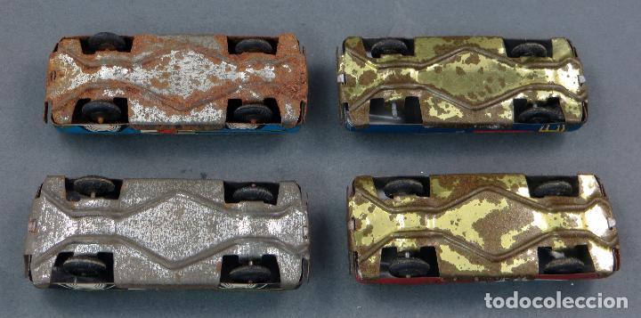 Juguetes antiguos de hojalata: 4 coches hojalata policía ambulancia y publicidad Made in Japan - Foto 5 - 118909167