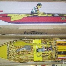 Juguetes antiguos de hojalata: PAYA CANOA REMOS. Lote 121702951