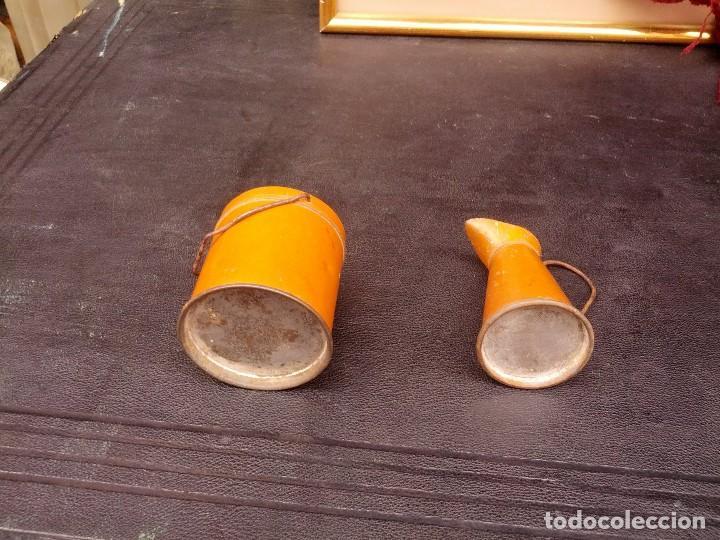 Juguetes antiguos de hojalata: Juego de cubo y jarra, para lavabo, hacia 1920 - Foto 2 - 122149627