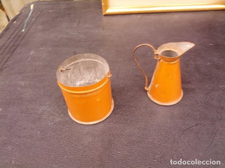 Juguetes antiguos de hojalata: Juego de cubo y jarra, para lavabo, hacia 1920 - Foto 4 - 122149627