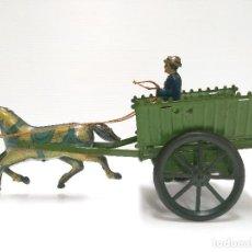 Juguetes antiguos de hojalata - Carreta con mujer Hojalata Rico años 30 - 127244075