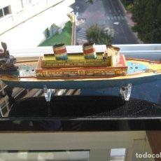 Juguetes antiguos de hojalata: BARCO DE PAYA - ANTÍGUO - IBI- ALICANTE. Lote 128263395