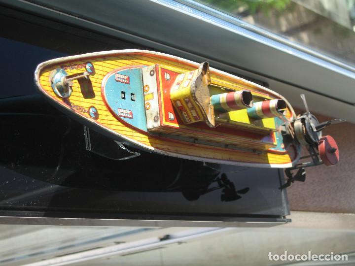 Juguetes antiguos de hojalata: BARCO DE PAYA - ANTÍGUO - IBI- ALICANTE - Foto 3 - 128263395