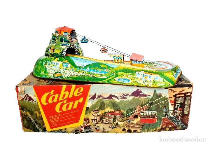 PISTA ACCESORIOS MOVIBLES TELEFÉRICO CABLE CAR TECHNOFIX WESTERN GERMANY A CUERDA AÑOS 60 CON CAJA (Juguetes - Juguetes Antiguos de Hojalata Extranjeros)