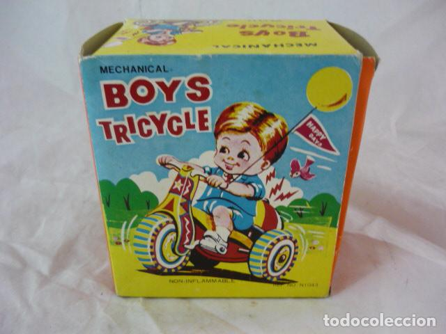 Juguetes antiguos de hojalata: Triciclo de Cuerda en Caja - Boys Tricycle - Con Campana - Mechanical With Revolving Bell - Foto 3 - 129030663