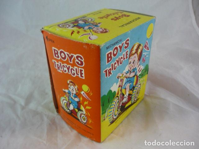 Juguetes antiguos de hojalata: Triciclo de Cuerda en Caja - Boys Tricycle - Con Campana - Mechanical With Revolving Bell - Foto 8 - 129030663