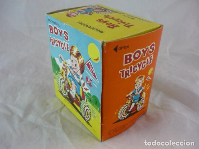 Juguetes antiguos de hojalata: Triciclo de Cuerda en Caja - Boys Tricycle - Con Campana - Mechanical With Revolving Bell - Foto 9 - 129030663