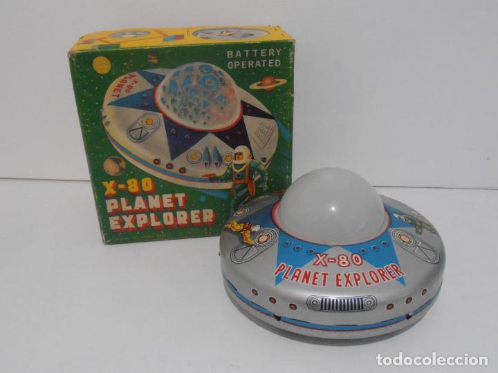 OVNI, UFO, PLATILLO VOLANTE X-80 PLANET EXPLORER, CAJA ORIGINAL, MODERN TOYS, MADE IN JAPAN, AÑOS 60 (Juguetes - Juguetes Antiguos de Hojalata Extranjeros)