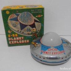 Juguetes antiguos de hojalata: OVNI, UFO, PLATILLO VOLANTE X-80 PLANET EXPLORER, CAJA ORIGINAL, MODERN TOYS, MADE IN JAPAN, AÑOS 60. Lote 172270370