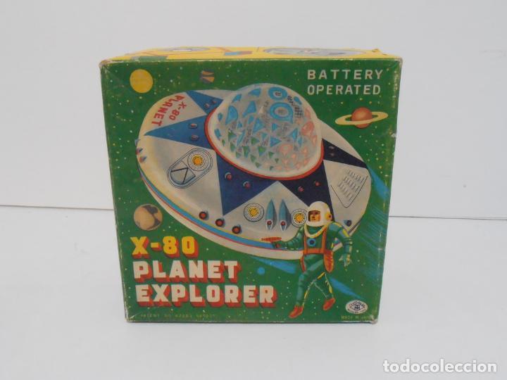 Juguetes antiguos de hojalata: OVNI, UFO, PLATILLO VOLANTE X-80 PLANET EXPLORER, CAJA ORIGINAL, MODERN TOYS, MADE IN JAPAN, AÑOS 60 - Foto 7 - 172270370