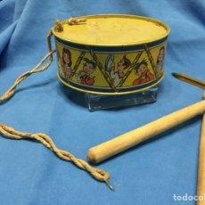 Juguetes antiguos de hojalata: TAMBOR DE HOJALATA ANTIGUO. Lote 139555225