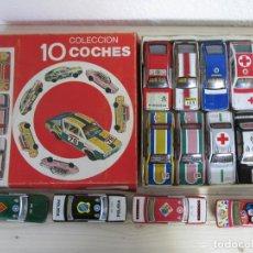 Juguetes antiguos de hojalata: PAYA: CAJA DE 10+4 COCHES RENAULT Y SEAT 1/32, ESTADO NUEVO.. Lote 140200998