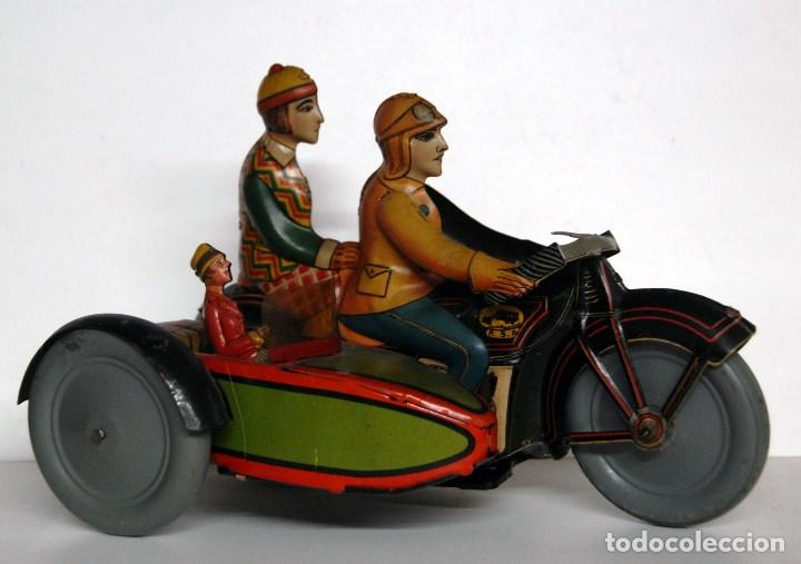 RICO Nº 368 ORIGINAL - MOTOCICLETA CON SIDECAR (Juguetes - Juguetes Antiguos de Hojalata Españoles)
