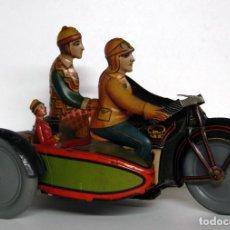 Juguetes antiguos de hojalata: RICO Nº 368 ORIGINAL - MOTOCICLETA CON SIDECAR. Lote 140400862