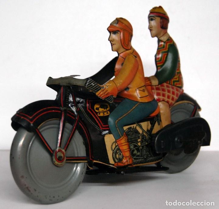 Juguetes antiguos de hojalata: RICO Nº 368 ORIGINAL - MOTOCICLETA CON SIDECAR - Foto 3 - 140400862