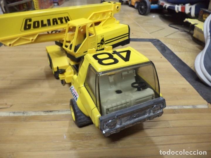 Juguetes antiguos de hojalata: Camión Grua Goliath de Joustra - France.Años 70. - Foto 3 - 140986954