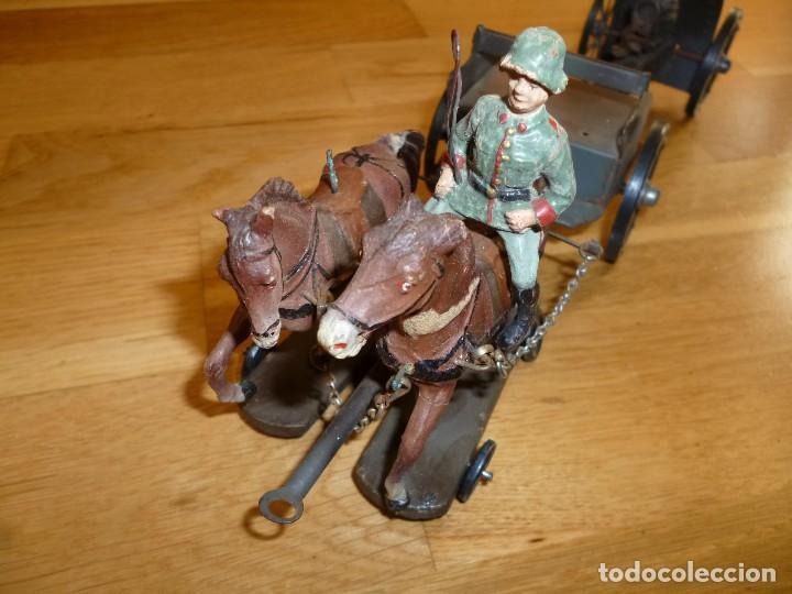 Juguetes antiguos de hojalata: Armón carro de artillería con cañon Elastolin Hausser figuras de pasta Lineol soldados hojalata - Foto 4 - 141560274