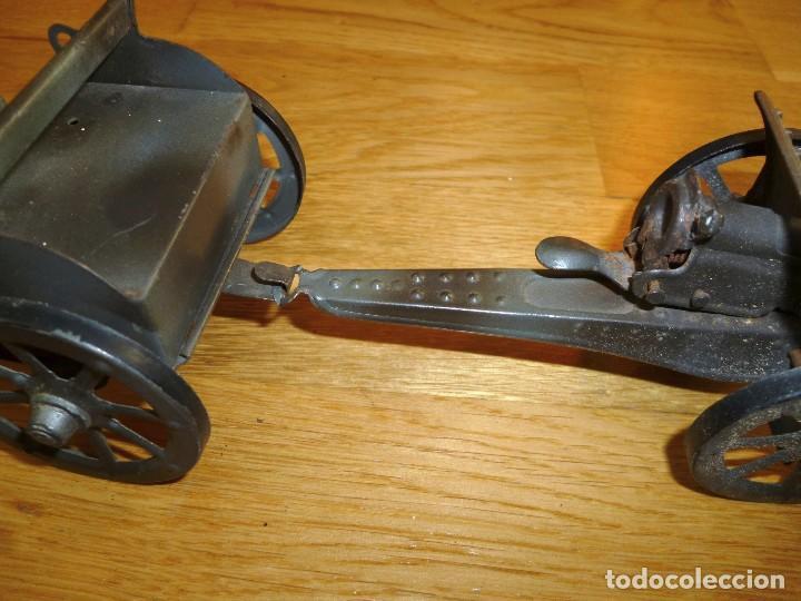 Juguetes antiguos de hojalata: Armón carro de artillería con cañon Elastolin Hausser figuras de pasta Lineol soldados hojalata - Foto 5 - 141560274