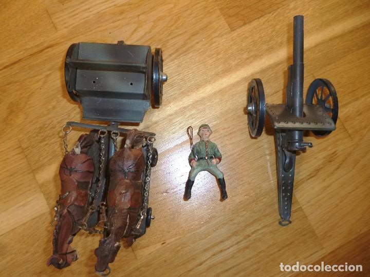 Juguetes antiguos de hojalata: Armón carro de artillería con cañon Elastolin Hausser figuras de pasta Lineol soldados hojalata - Foto 6 - 141560274
