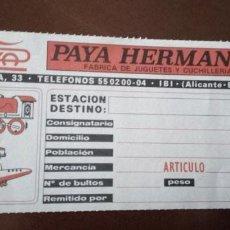 Juguetes antiguos de hojalata: DOCUMENTO DE PAYA. Lote 143729138