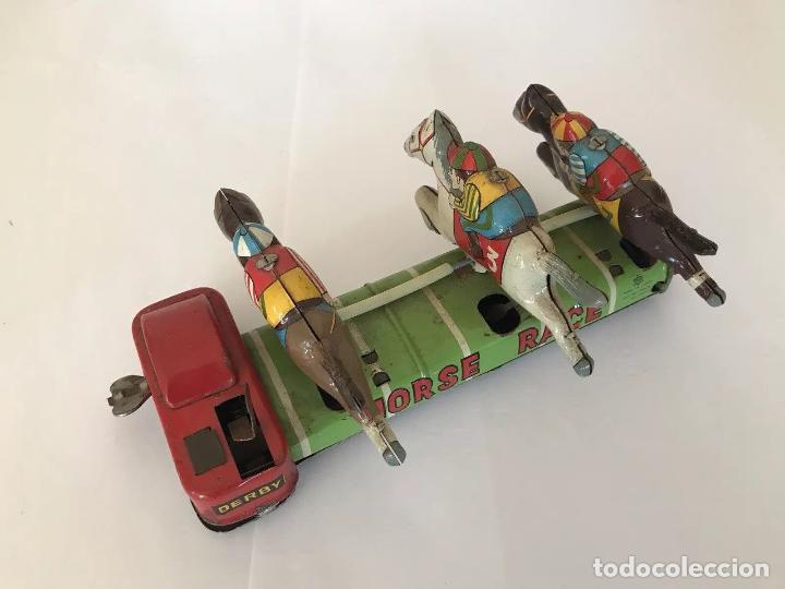 Juguetes antiguos de hojalata: MUY RARO ANTIGÜO JUEGO DE CARRERAS DE CABALLOS HOJALATA MADE EN JAPON AÑOS 30 40 FIRMADO - Foto 3 - 144060638