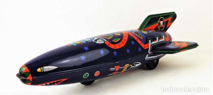 Juguetes antiguos de hojalata: Cohete Made in Japan años 80 - Foto 3 - 146135522
