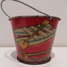 Juguetes antiguos de hojalata: BONITO CUBO DE HOJALATA SERIGRAFIADO - JUGUETE ANTIGUO. Lote 150334498
