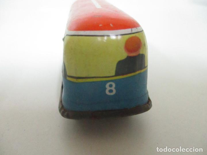 Juguetes antiguos de hojalata: Antiguo Coche de Hojalata a Cuerda - Bus, Coney Island Tecnhnofix - Western in Germany - Foto 6 - 150765958