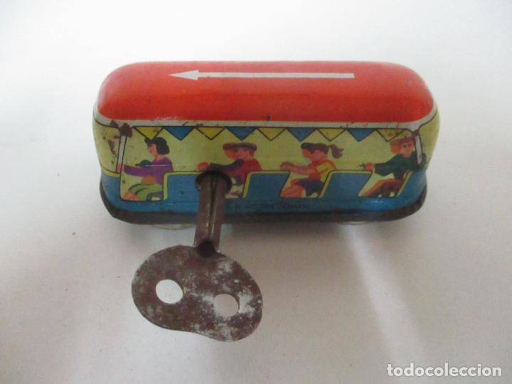 Juguetes antiguos de hojalata: Antiguo Coche de Hojalata a Cuerda - Bus, Coney Island Tecnhnofix - Western in Germany - Foto 9 - 150765958